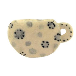 Keramik Brosche Kaffeetasse Handarbeit