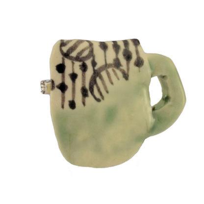 Keramik Brosche Tasse Handarbeit