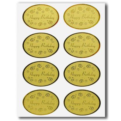 Aufkleber Happy Birthday Farbe Gold Set 8 Stück