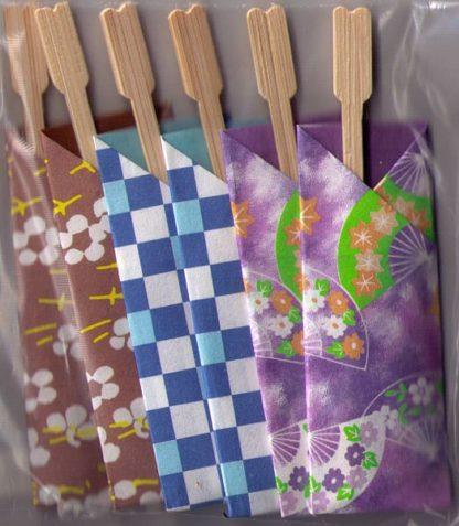 Apero-Gabel in Origami Papier Taschen
